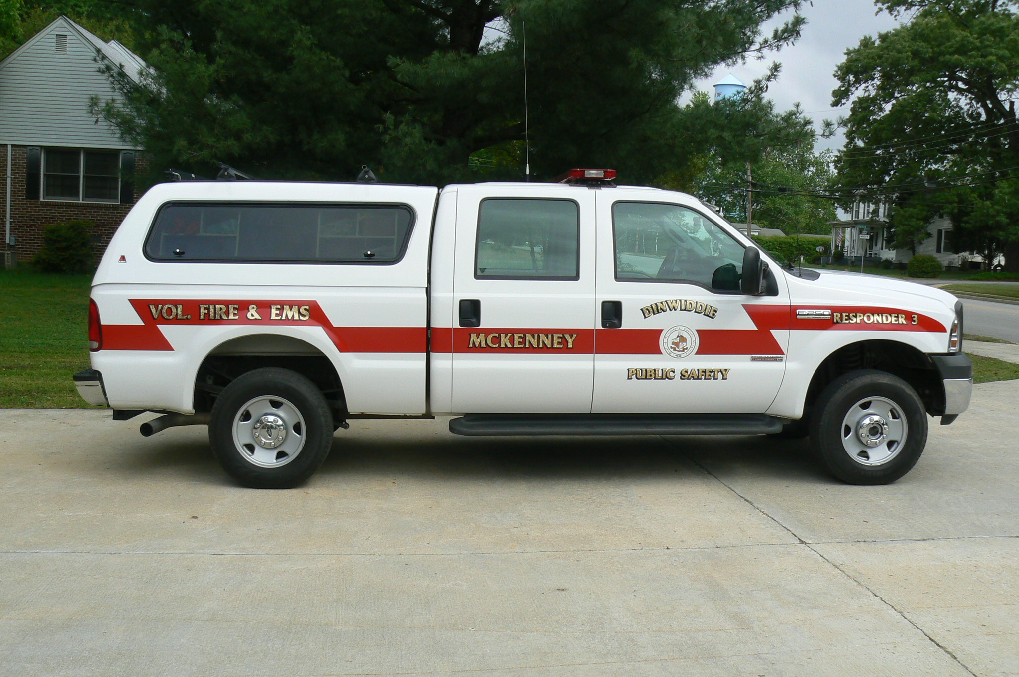 White responder truck with red accents