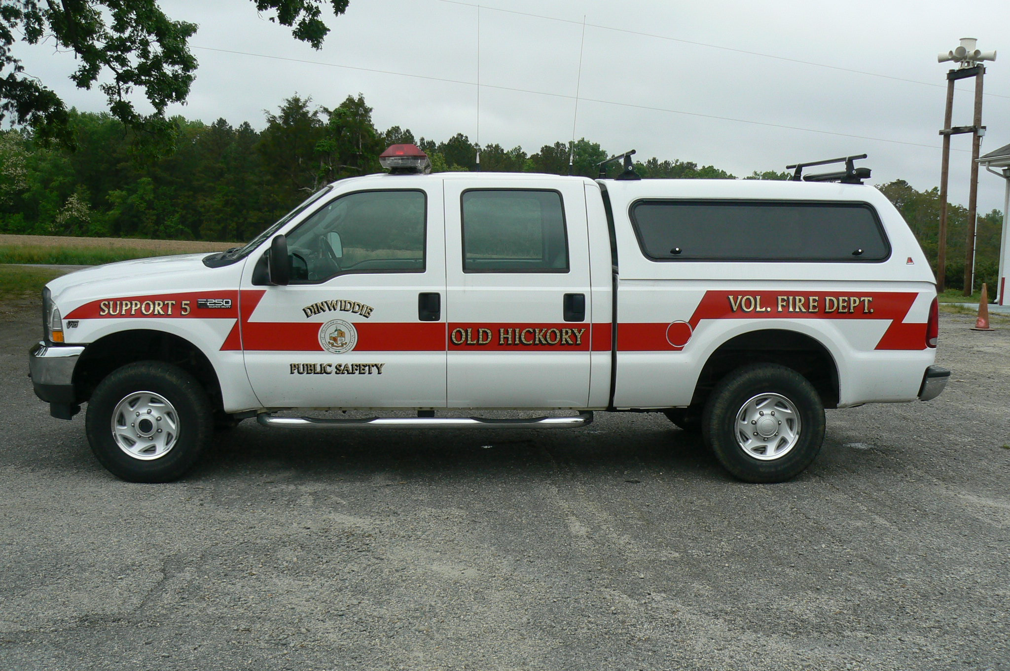 White and red emergency response truck