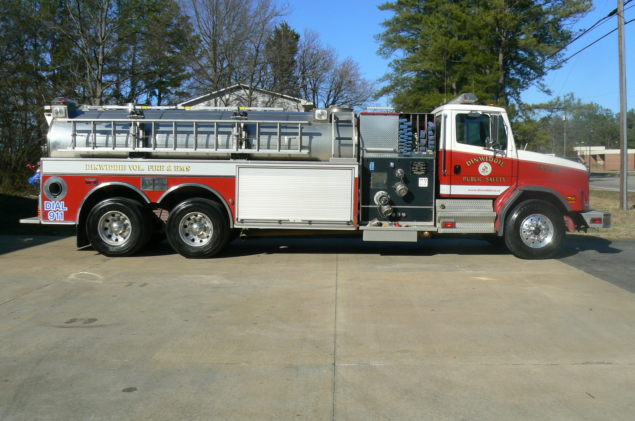 red fire tanker truck