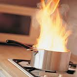 burning pan on a stove
