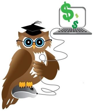 Image of a owl sitting on a mouse with a computer